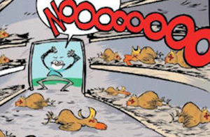 Image from the article in the comic about vaccination of chickens.