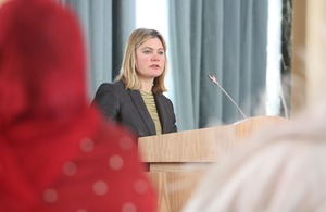 Justine Greening making the keynote speech at the Somali women's event. Picture: Patrick Tsui/FCO