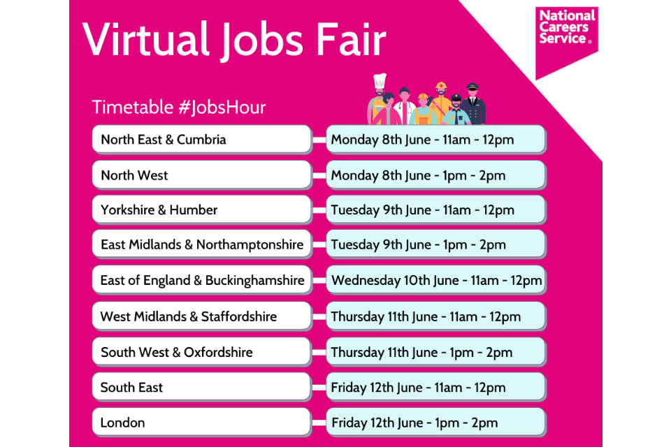 The timetable for the National Careers Service's virtual jobs fair in June.
