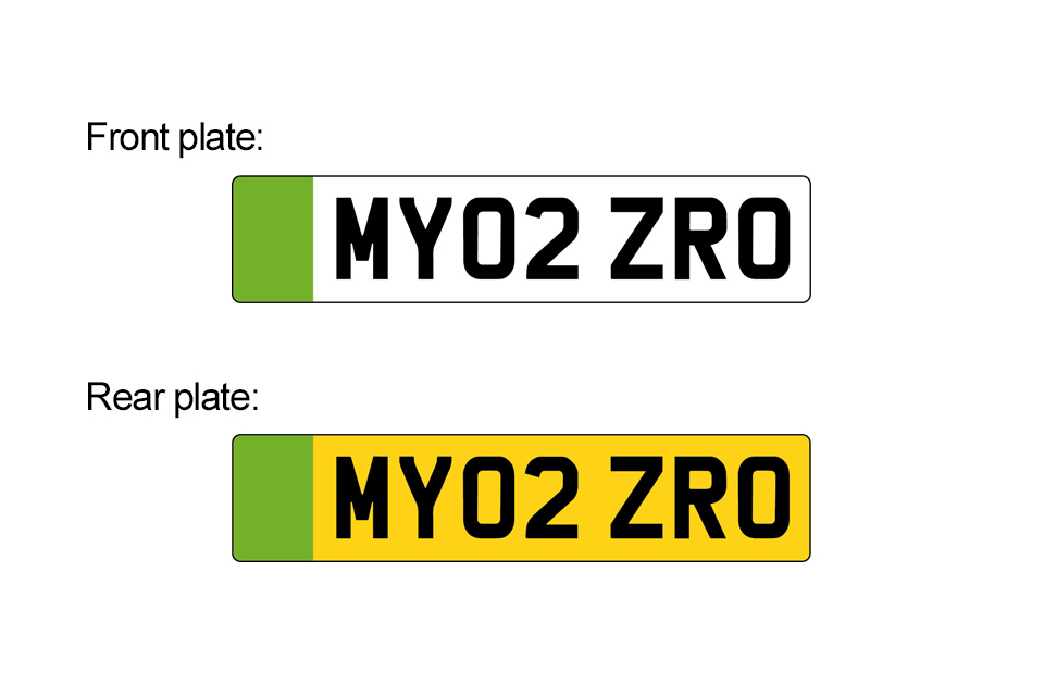 Image of licence plates designs for the front and rear of the vehicle. Both designs have a left-hand green stripe however only the rear plate has yellow instead of white background behind the black identifying figures.