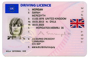 Image of a UK driving licence