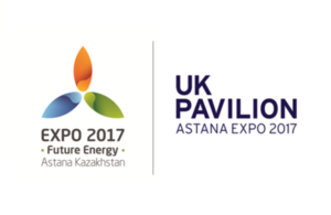 Astana Expo 2017 and UK pavilion logos