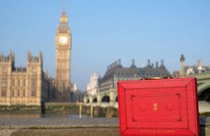 Budget box outside Parliament.