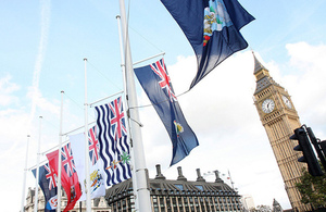 Flags of the Overseas Territories flying in Parliament Square, London