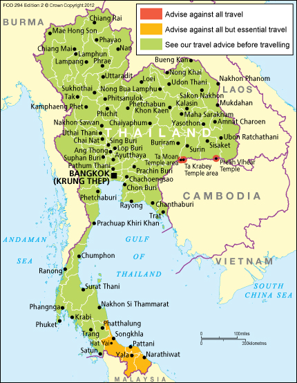 Thailand - Thailand travel advice - GOV.UK - Feb 12, 2015 ... Over 800,000 British nationals visit Thailand every year. Most visits are trouble-  free, but there have been attacks (sometimes violent), ...
