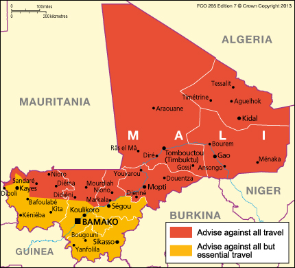 Mali Travel Advice GOVUK - Us embassy niger map