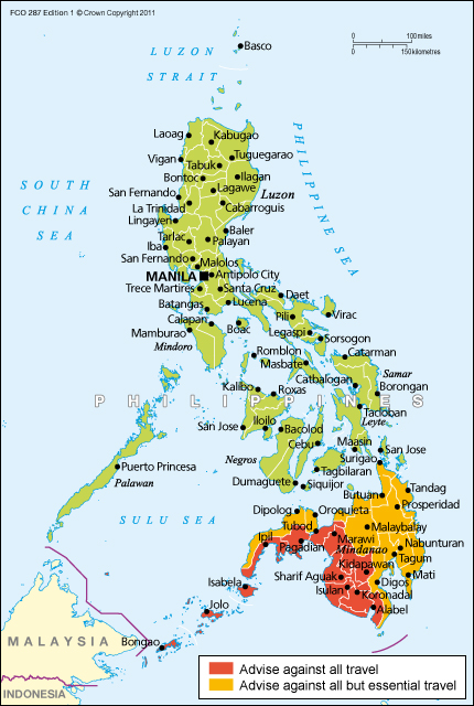 Philippines travel advice - GOV.UK Philippines Travel Maps