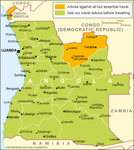 Angola Travel Advice GOVUK - Angola road map