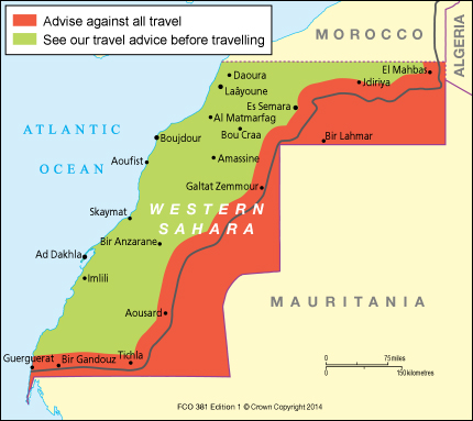 Western Sahara Travel Advice GOVUK - Western sahara map