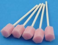 Oral swabs with a foam head