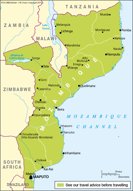 Mozambique travel advice gov download map pdf sciox Choice Image