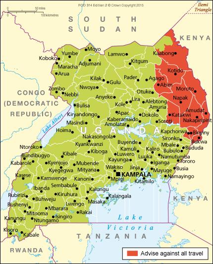 Uganda travel advice - GOV.UK Uganda Travel Maps
