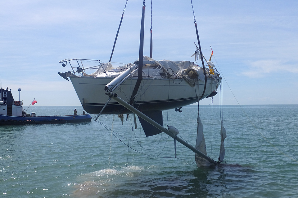 Yacht Orca being recovered after sustaining catastrophic damage as a result of the collision with dredger Shoreway