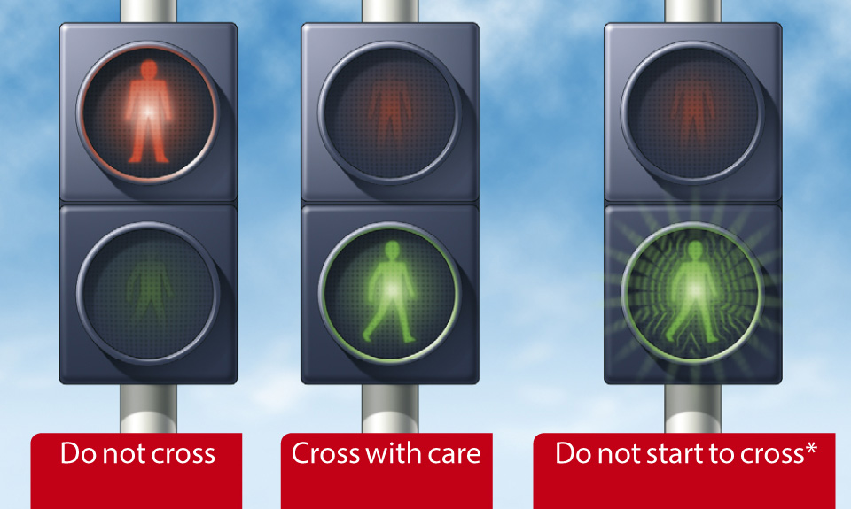 Rule 21: At traffic lights, puffin and pelican crossings. *At pelican crossings only.
