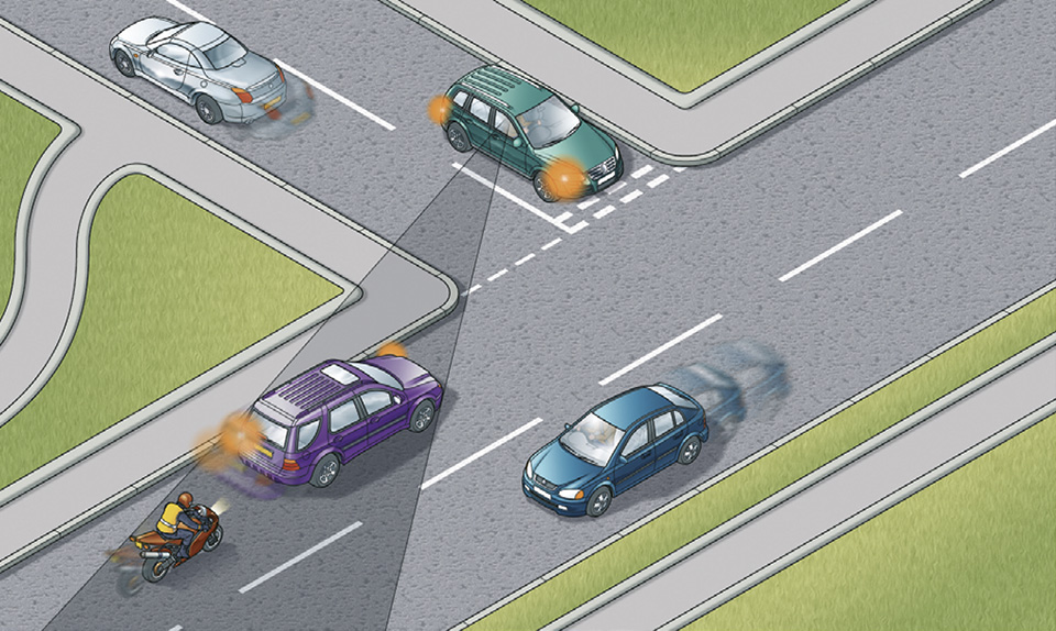 Rule 211: Look out for motorcyclists and cyclists at junctions