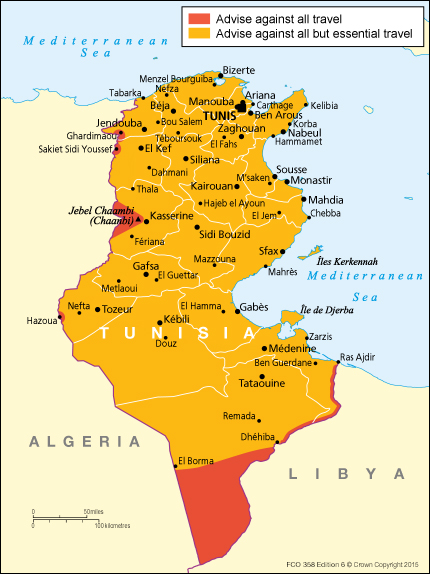Tunisia travel advice - GOV.UK Tunisia Travel Maps