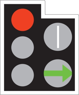 A GREEN ARROW may be provided in addition to the full green signal if movement in a certain direction is allowed before or after the full green phase. If the way is clear you may go but only in the direction shown by the arrow. You may do this whatever other lights may be showing. White light signals may be provided for trams