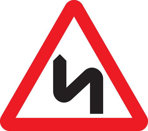 Double bend first to left (symbol may be reversed)
