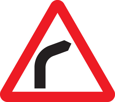 Bend to right (or left if symbol reversed)