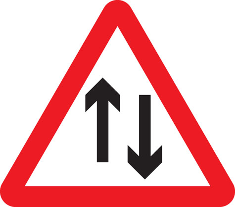 Two-way traffic straight ahead