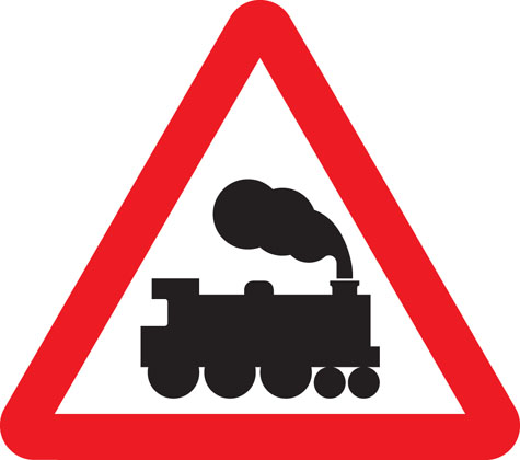 Level crossing without barrier or gate ahead
