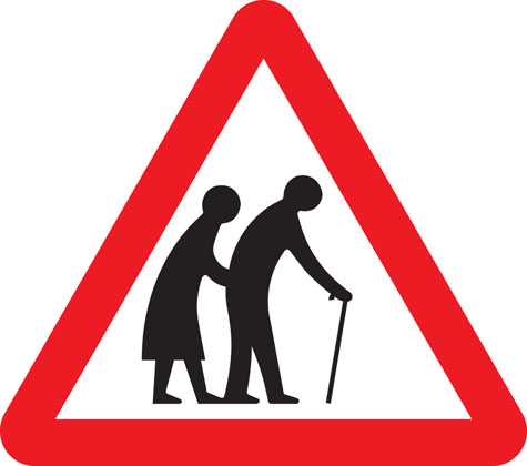 Frail (or blind or disabled if shown) pedestrians likely to cross road ahead