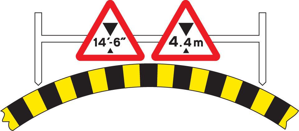 Available width of headroom indicated