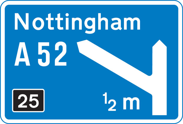 On approaches to junctions (junction number on black background)