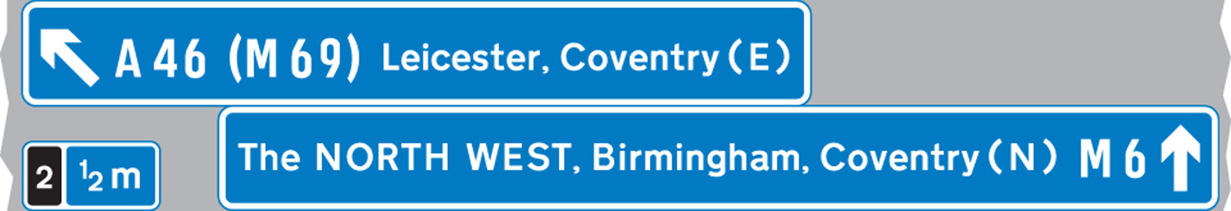 The panel with the inclined arrow indicates the destinations which can be reached by leaving the motorway at the next junction