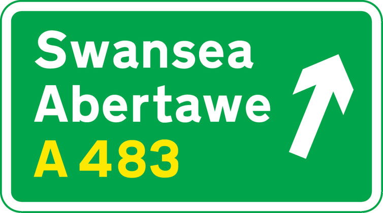 On approach to a junction in Wales (bilingual)