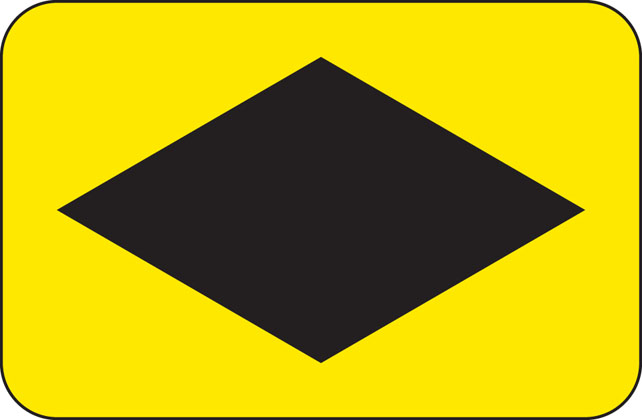 Symbols showing emergency diversion route for motorway and other main road traffic
