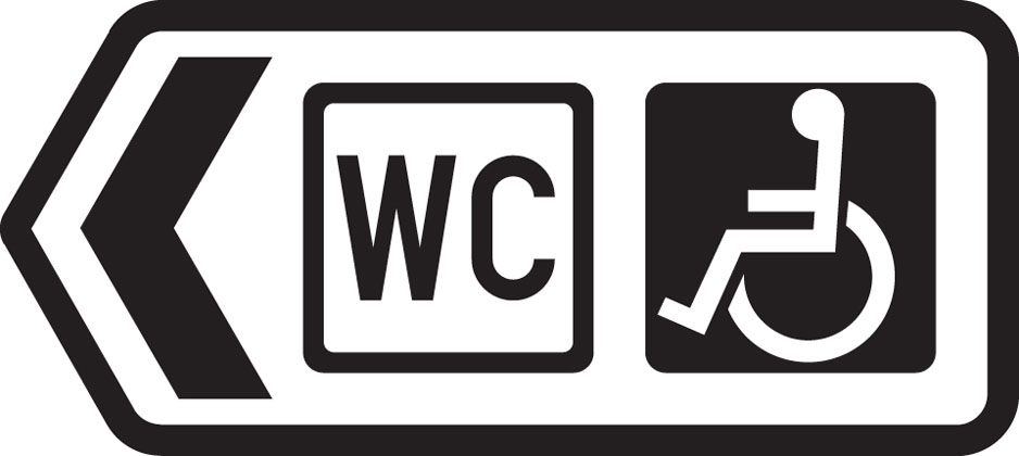 Direction to toilets with access for the disabled