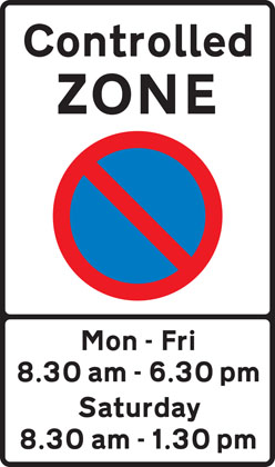 Entrance to controlled parking zone