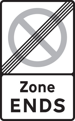 End of controlled parking zone
