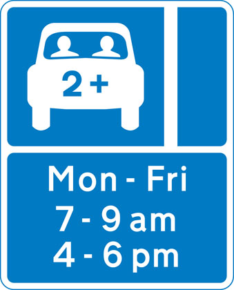 Lane designated for use by high occupancy vehicles (HOV) - see rule 142
