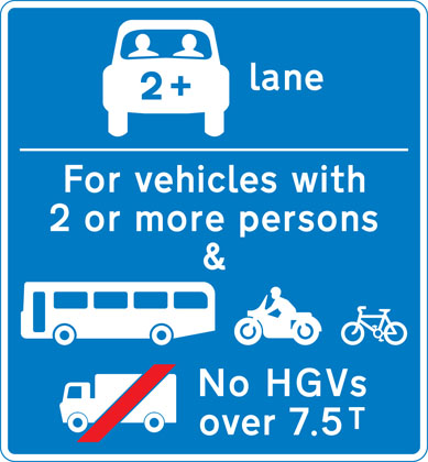 Vehicles permitted to use an HOV lane ahead