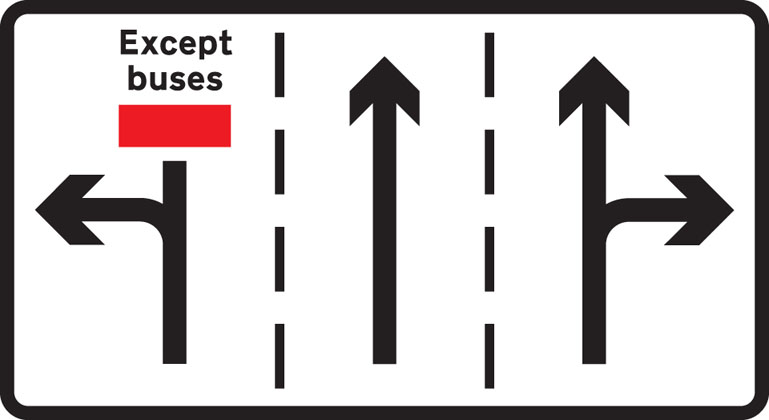 Appropriate traffic lanes at junction ahead