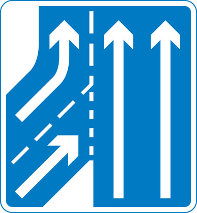 Additional traffic joining from left ahead. Traffic on main carriageway has priority over joining traffic from right hand lane of slip road