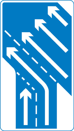 Traffic in right hand lane of slip road joining the main carriageway has priority over left hand lane