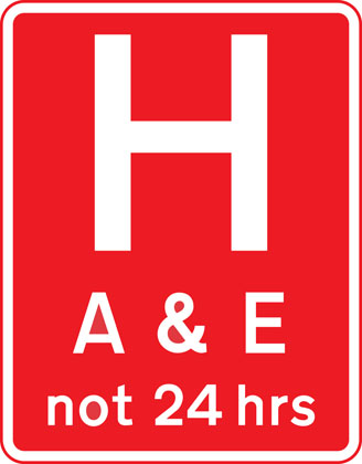 Hospital ahead with Accident and Emergency facilities