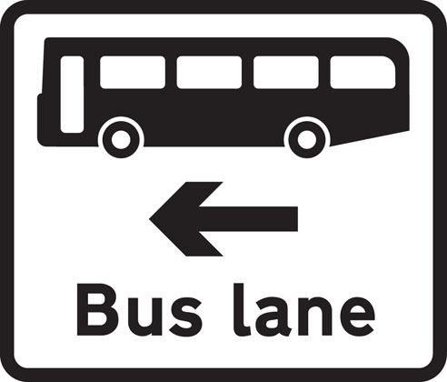 Bus lane on road at junction ahead