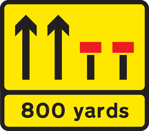 Temporary lane closure (the number and position of arrows and red bars may be varied according to lanes open and closed)