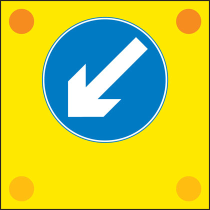 Slow-moving or stationary works vehicle blocking a traffic lane. Pass in the direction shown by the arrow.