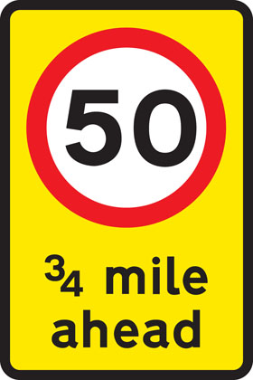 Mandatory speed limit ahead
