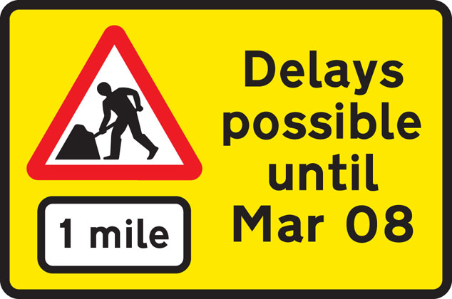 Road works 1 mile ahead