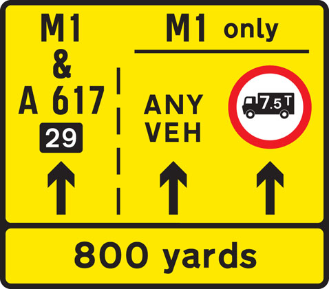 Lane restrictions at road works ahead
