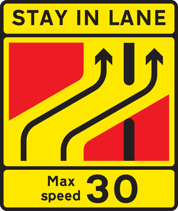 One lane crossover at contraflow road works