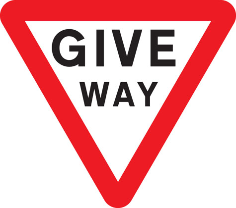 Give way to traffic on major road