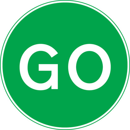 Manually operated temporary STOP and GO signs