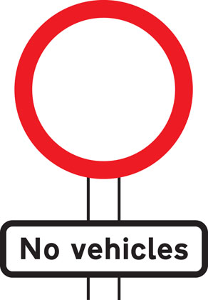 No vehicles except bicycles being pushed